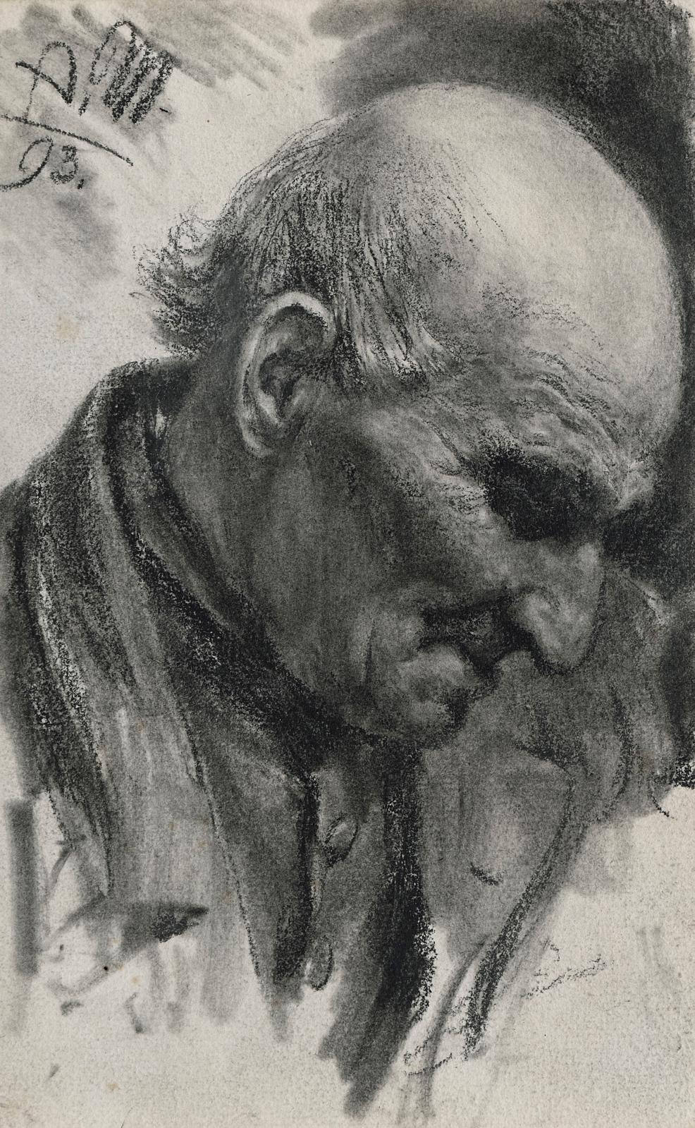 Adolph Friedrich Erdmann von Menzel (1815-1905), Tête de vieillard penchée et tournée vers la droite, 1893, mine de plomb à l'estompe, signée des init