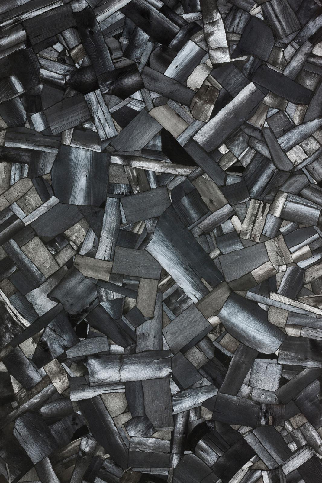 Issu du feu, charbon de bois sur toile, 2000, 210x120cm (détail).