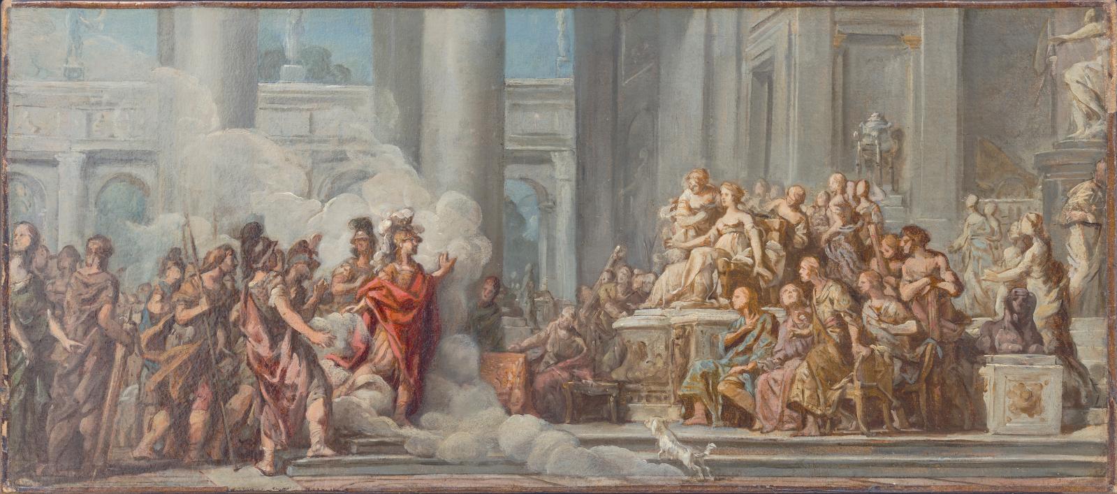 Jean-Bernard Restout (1732-1797), L'Arrivée d'Énée à Carthage, huile sur papier marouflé, 31,12 x 68,58 cm, Los Angeles County Museum of Art.