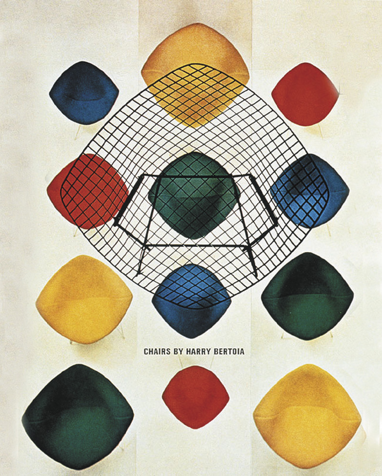 Advertising poster for the Bertoia collection designed by Herbert Matter for Knoll.
