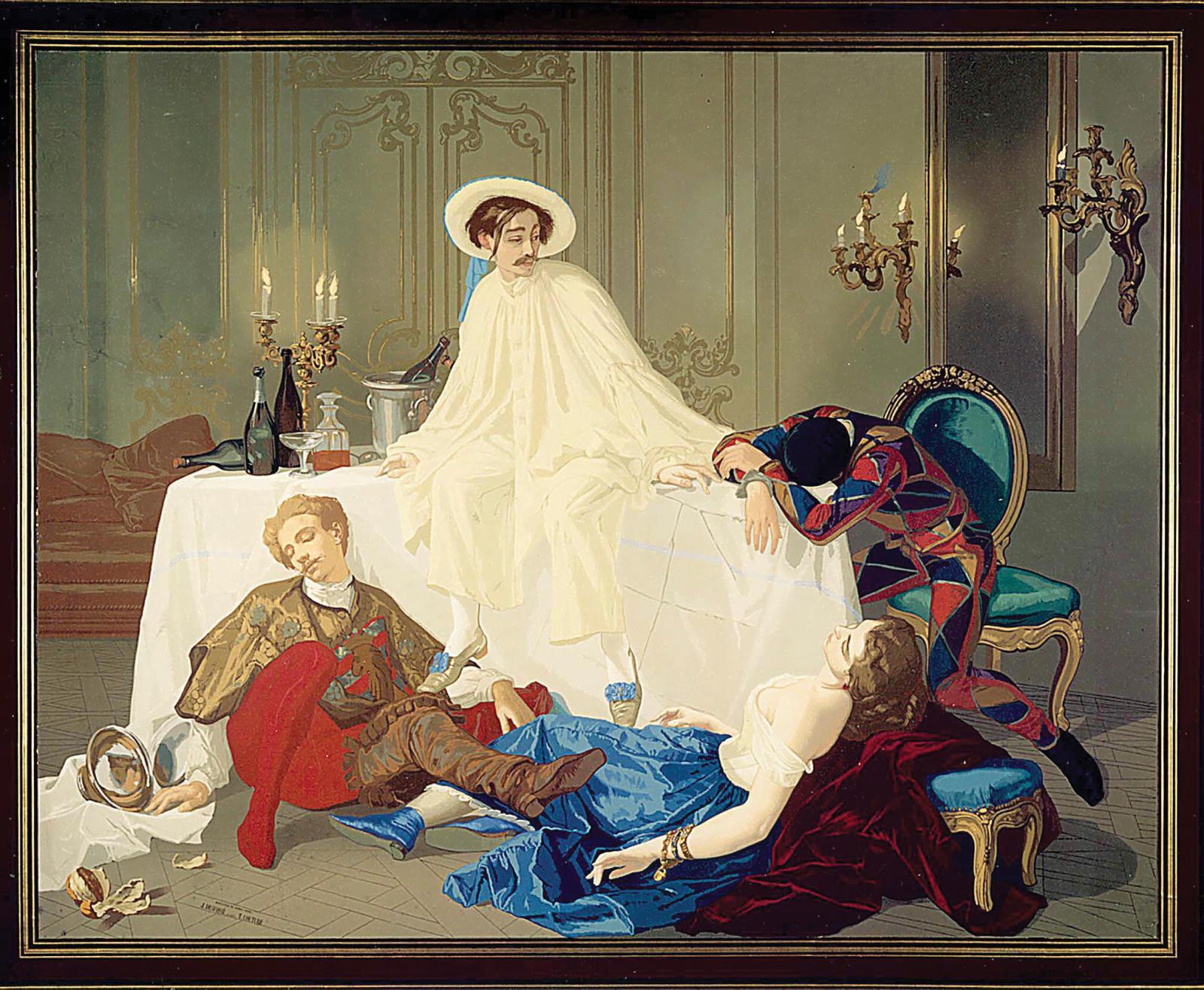 Le Souper de Pierrotdessiné par Thomas Couture, imprimé par Jules Desfossé et présenté à l'Exposition universelle de 1855.