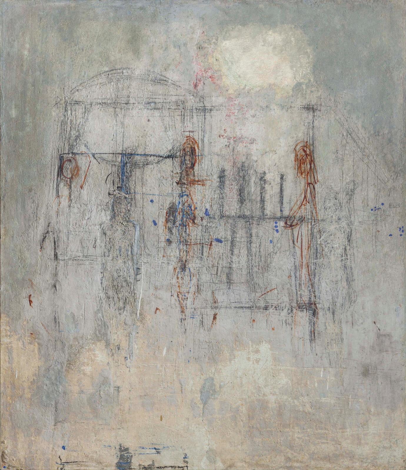 Fragment du mur de l'atelier de Giacometti46, rue Hippolyte-Maindron. Esquisse pour La Cage (première version), esquisse pour Quatre figurines sur pi