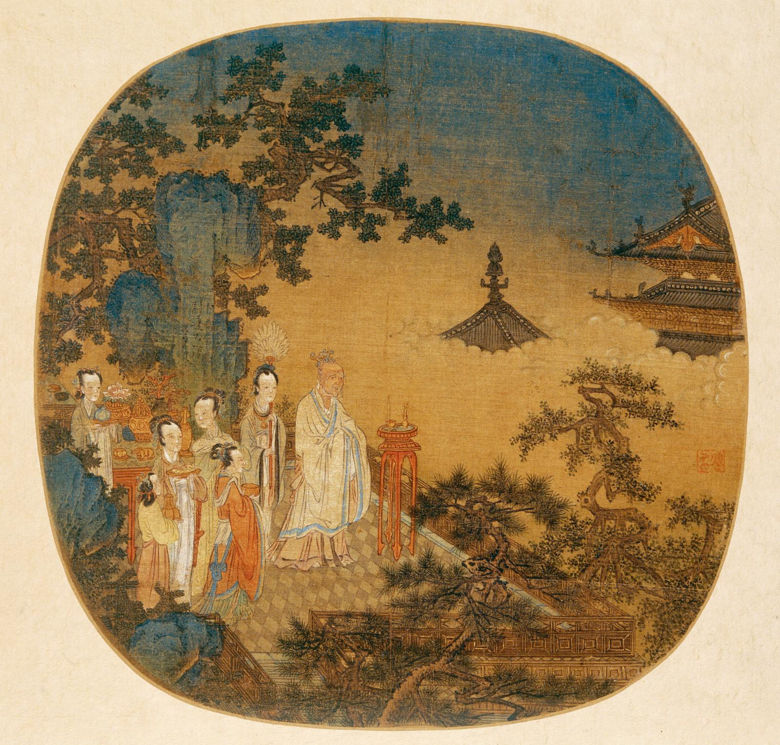 Yuan dynasty (13th-14th centuries), painting of burning incense, anonymous, circular fan in silk, 24 x 43 cm, Shanghai Museum.