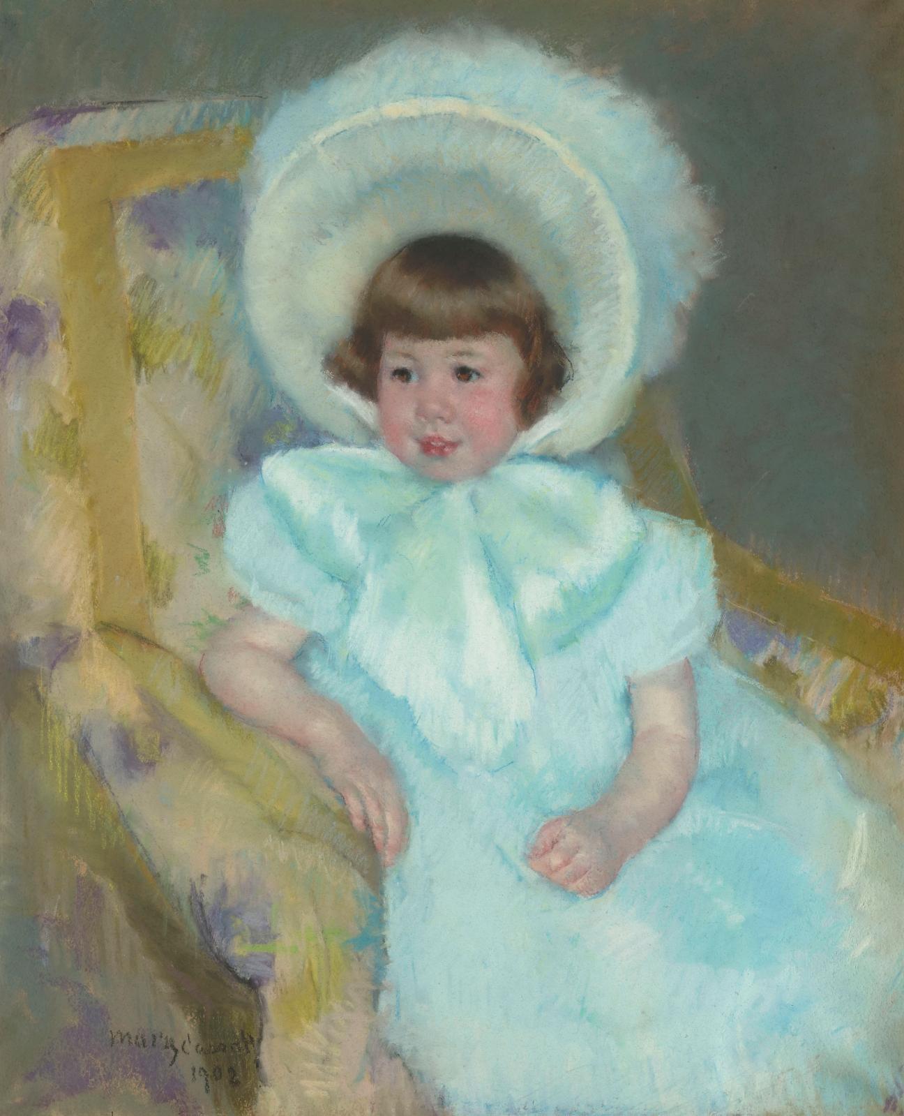 """""""Portrait de Mademoiselle Louise-Aurore Villeboeuf"""", 1901, pastel on beige paper, 72.7 x 60 cm (detail), Musée d'Orsay, Paris, donated by Louise-Auror"""