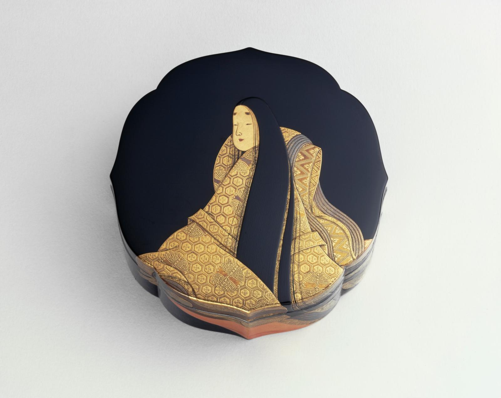 Ganshôsai Shunsui, boîte en laque, début du XXesiècle, 4,2x9,7cm.