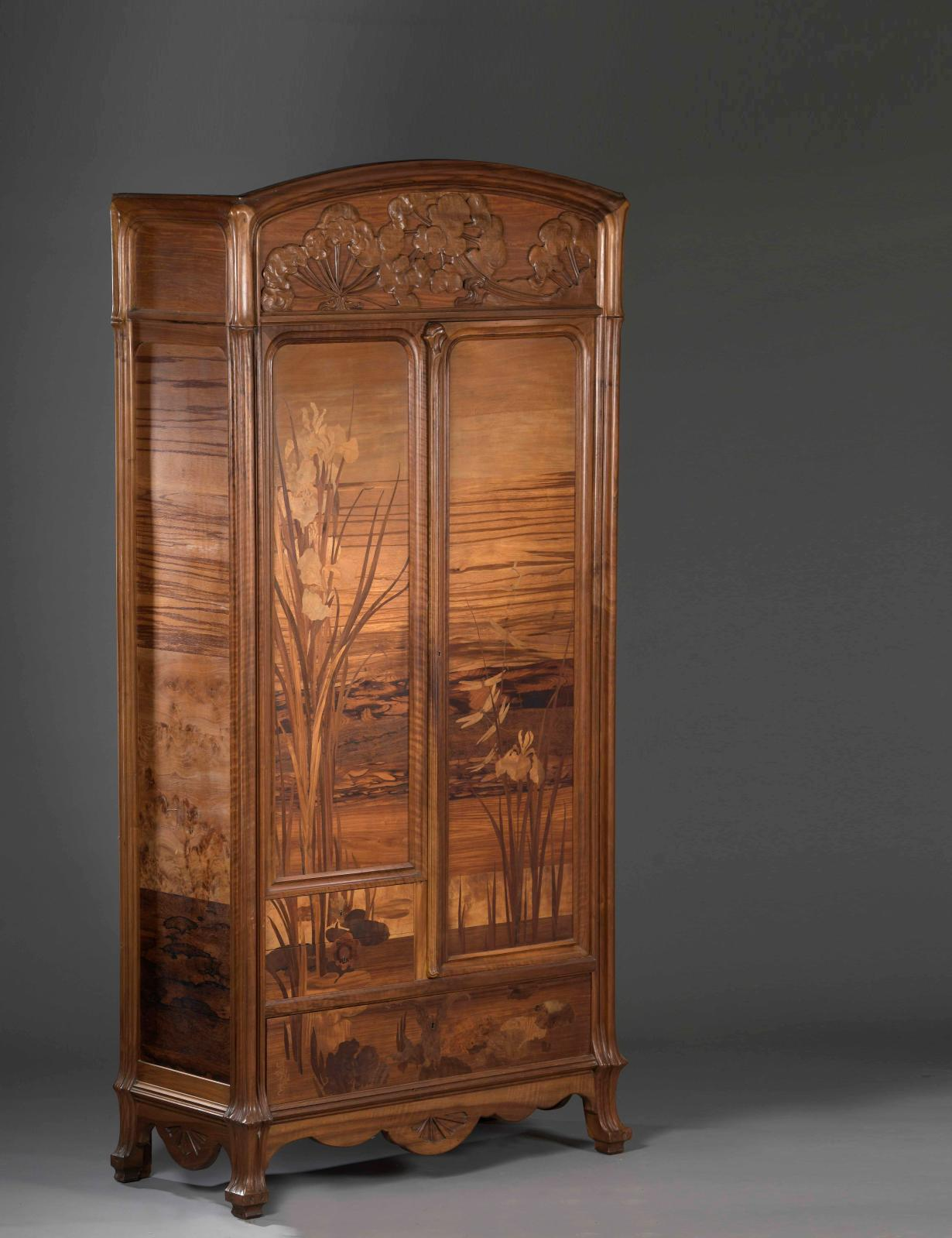 Émile Gallé (1846-1904), armoire with umbellifers in carved, moulded walnut and precious wood, wetland iris, dragonfly and butterfly marquetry, front