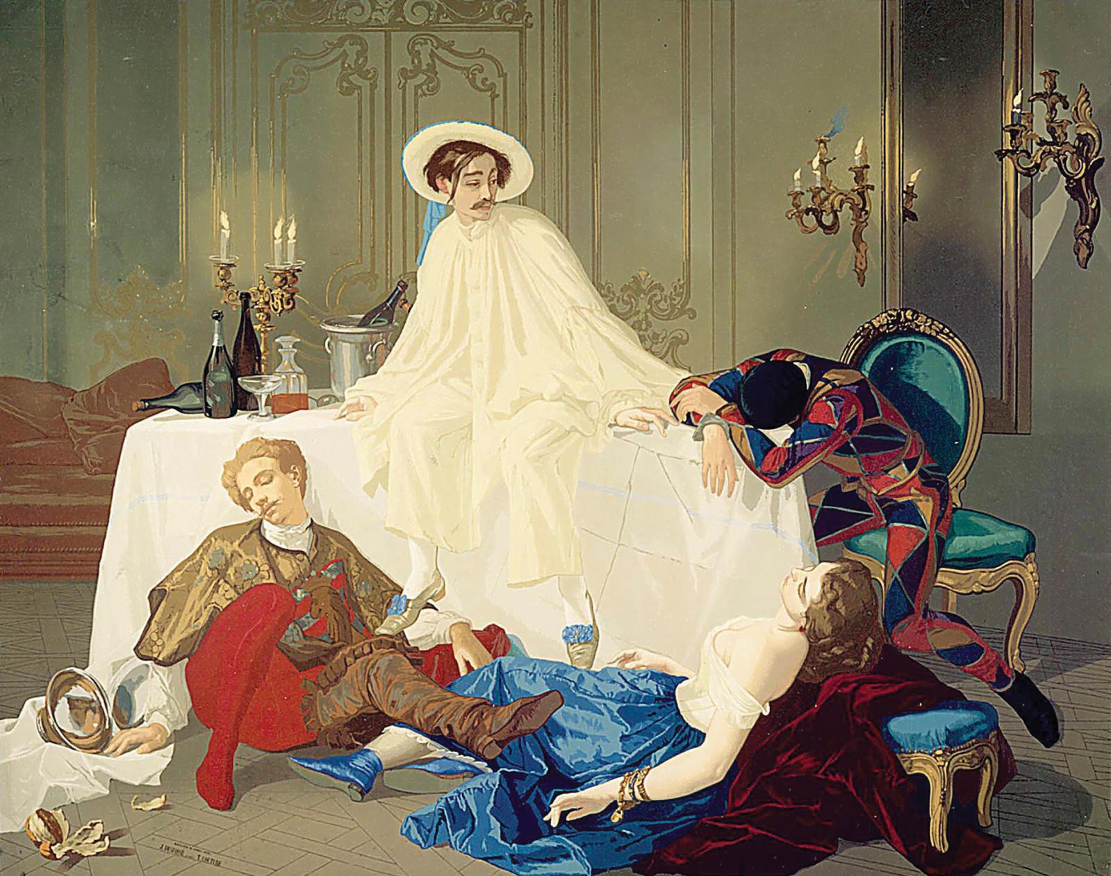 """Le Souper de Pierrot"", designed by Thomas Couture, printed by Jules Desfossé and presented at the Paris Universal Exhibition of 1855."