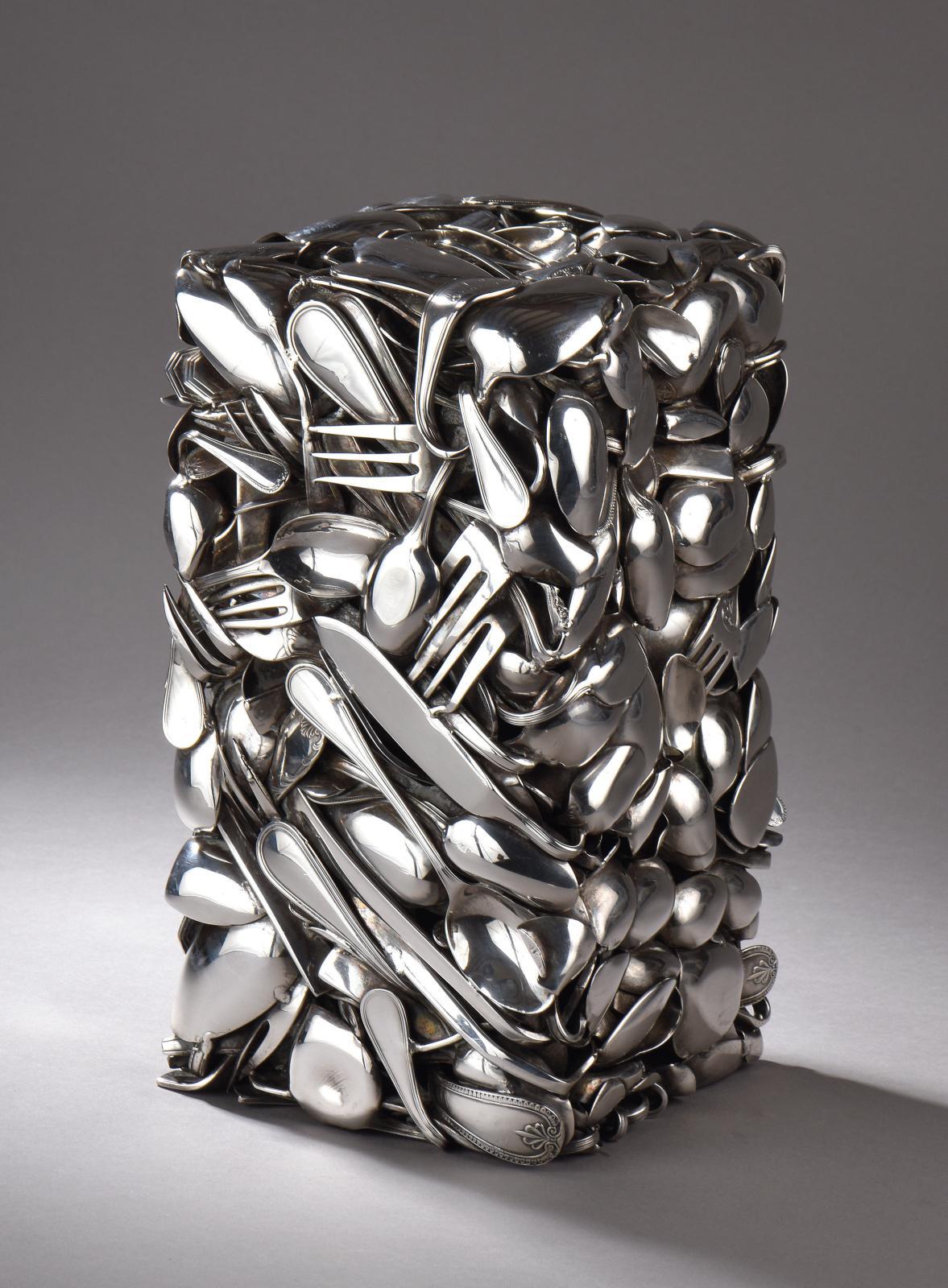 """César Baldaccini, aka César (1921-1998), """"Compression de couverts en métal argenté"""", silver-plated metal cutlery sculpture, 29 x 15.5 x 15.5 cm. Paris"""