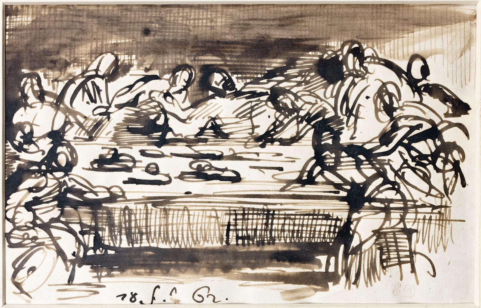 La Cène, 1862, plume et encre brune, lavis brun, 12,5x20cm (détail). Paris, Drouot, 26 mars 2014. Thierry de Maigret OVV. Adjugé: 52080€