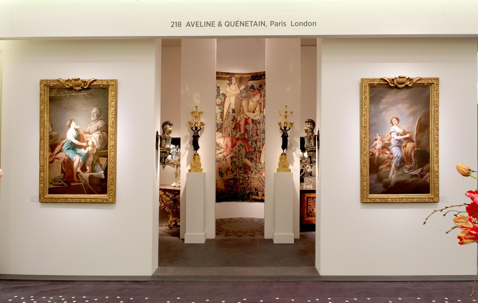 Christophe de Quénetain's stand at the 2015 edition of TEFAF, Maastricht. Design by Pierre Yovanovitch, paintings (in the foreground) by Nicolas-Berna