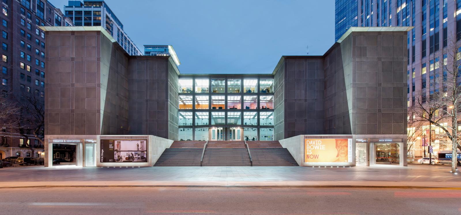 The façade of the Chicago Museum of Contemporary Art (MCA)