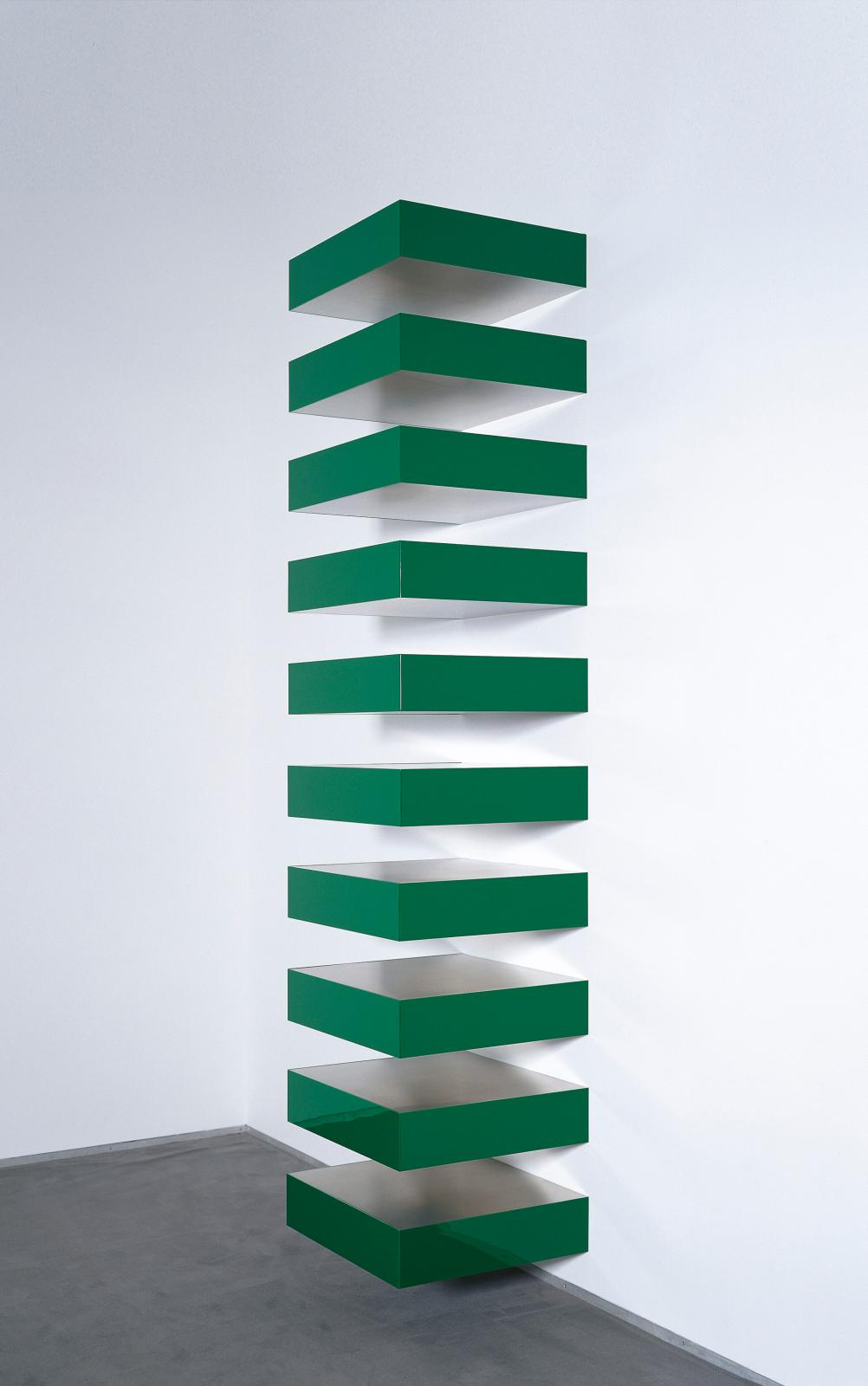 "Donald Judd (1928-1994), ""Untitled"", 1970, stainless steel and Plexiglass, ten parts, each: 15.2 x 68.6 x 61 cm."