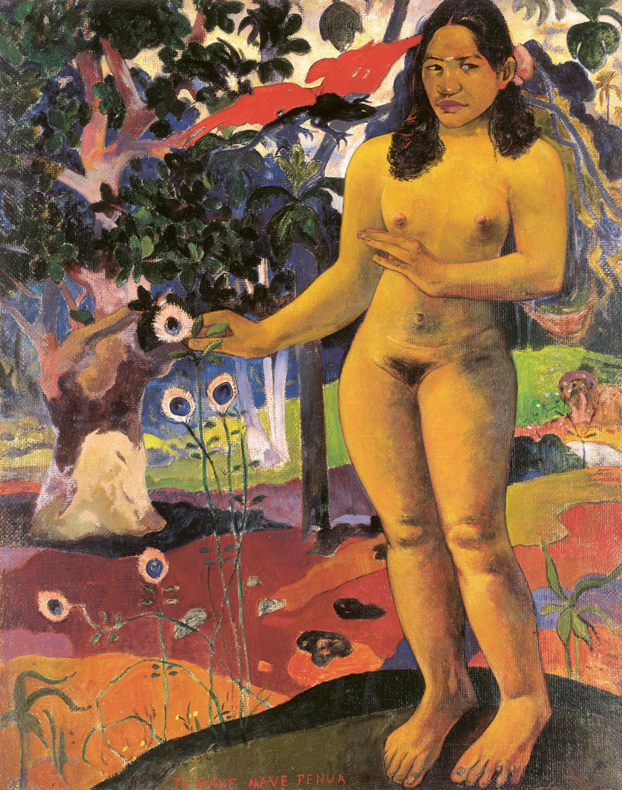 "Paul Gauguin (1848-1903),""Te nave nave fenua"" (The Delightful Land), 1892, oil on canvas, 91.3 x 72.1 cm. Kurashiki, Ohara Museum of Art."