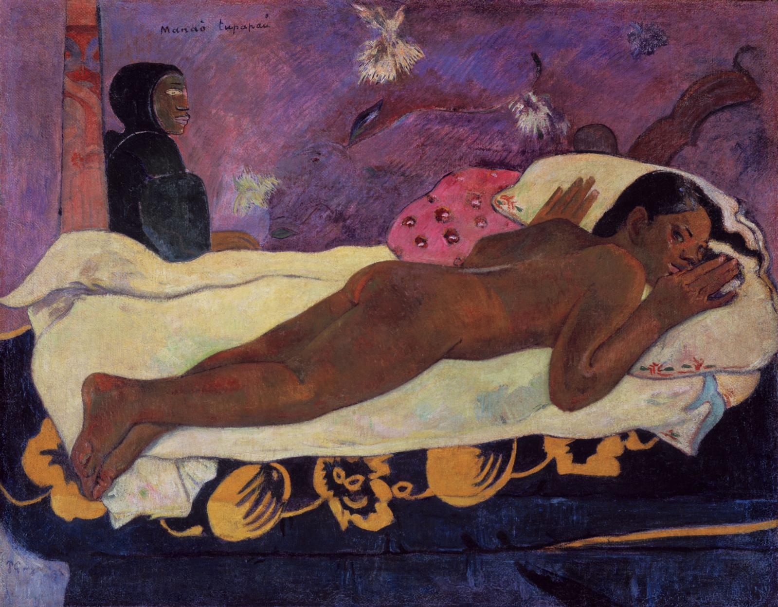 "Paul Gauguin (1848-1903), ""Manao tupapau"" (The Spirit Watches, aka Spirit of the Dead Watching), 1892, oil on jute canvas mounted on canvas, 73 x 92 c"