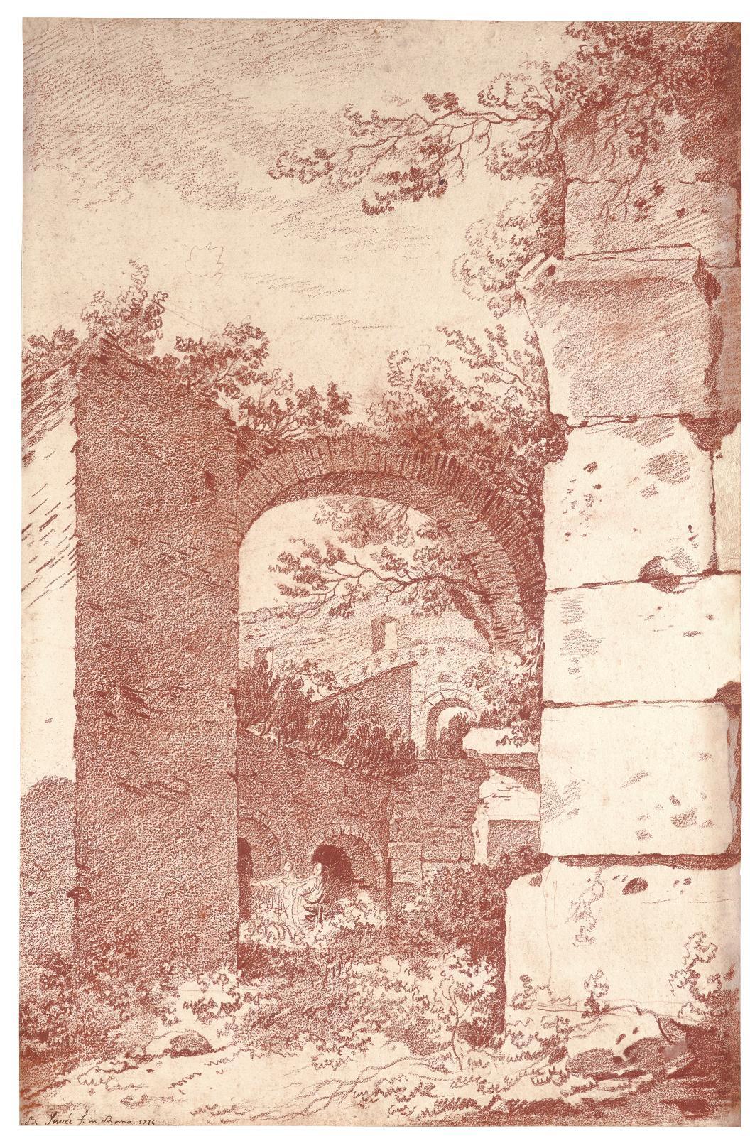 Villa Adriana à Tivoli, vers 1774, sanguine, 43,5x31,9cm, France, collection particulière.