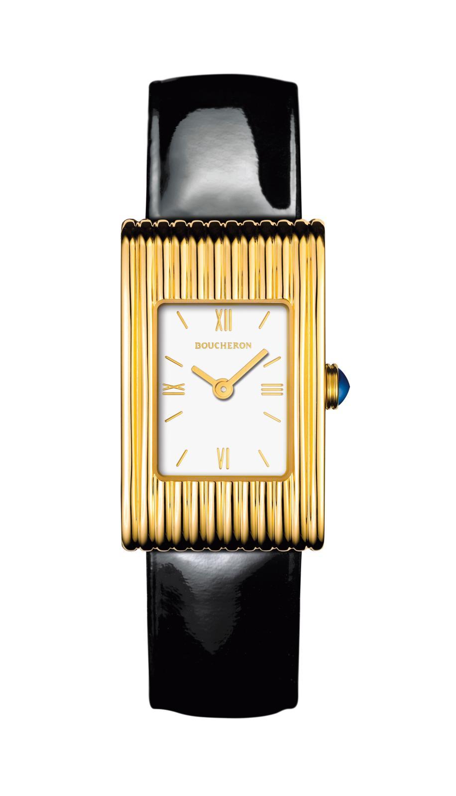 Montre Reflet, créée en 1947, à godrons d'or et bracelets interchangeables. Cette technique fait alors l'objet d'un dépôt de brevet.