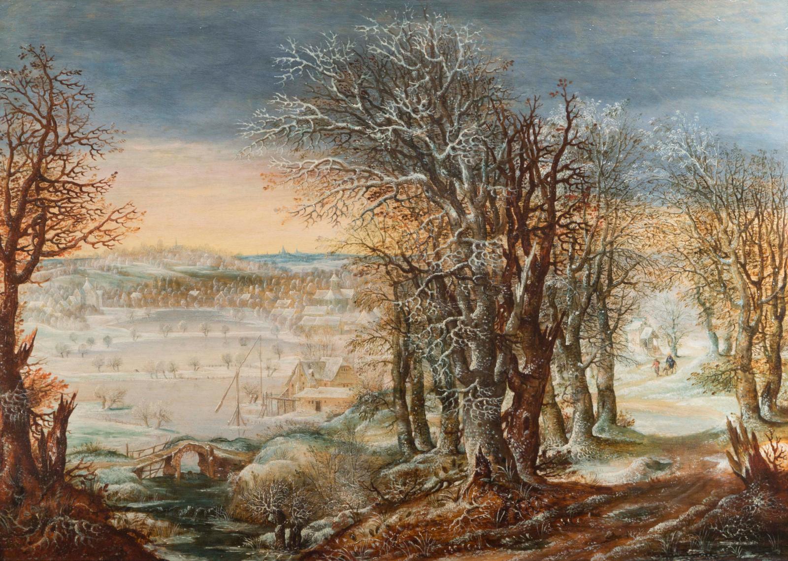 Denis van Alsloot (1570-1626), Paysage d'hiver dans la forêt de Soignes avec la Fuite en Égypte, huile sur panneau, 48,5x66,8cm; au dos, marque du