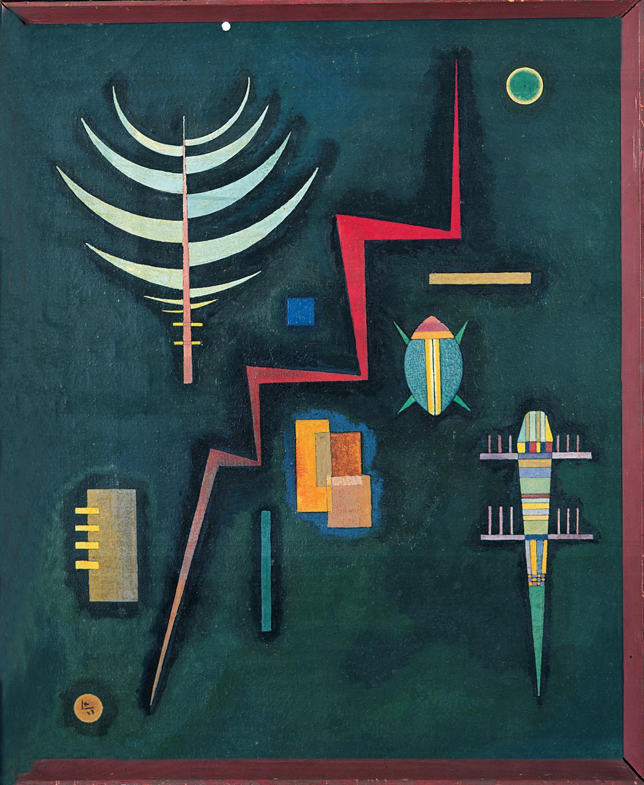 Vassily Kandinsky(1866-1944), Angles rouges, 1928, huile sur toile, 46x37cm.
