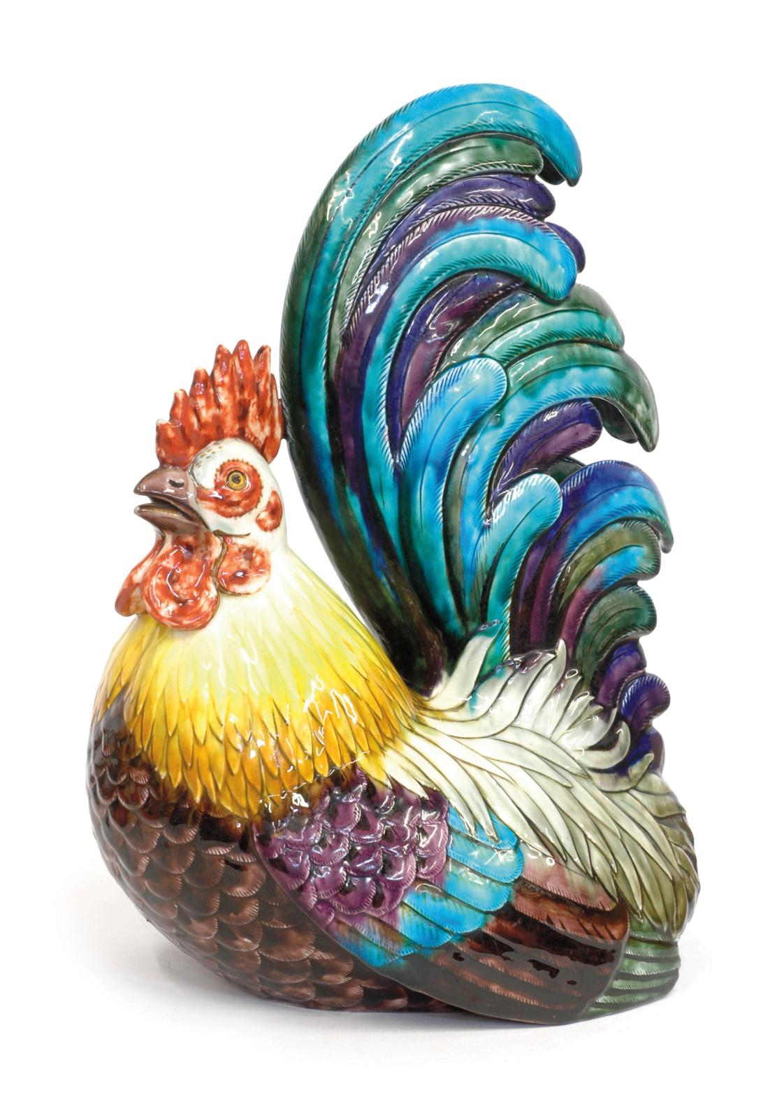 """Coq"", large model forming a flower vase, polychrome glazed ceramic, signed with intaglio stamp, ""Th. Deck"", under the base, height: 42 cm.  Galerie d"
