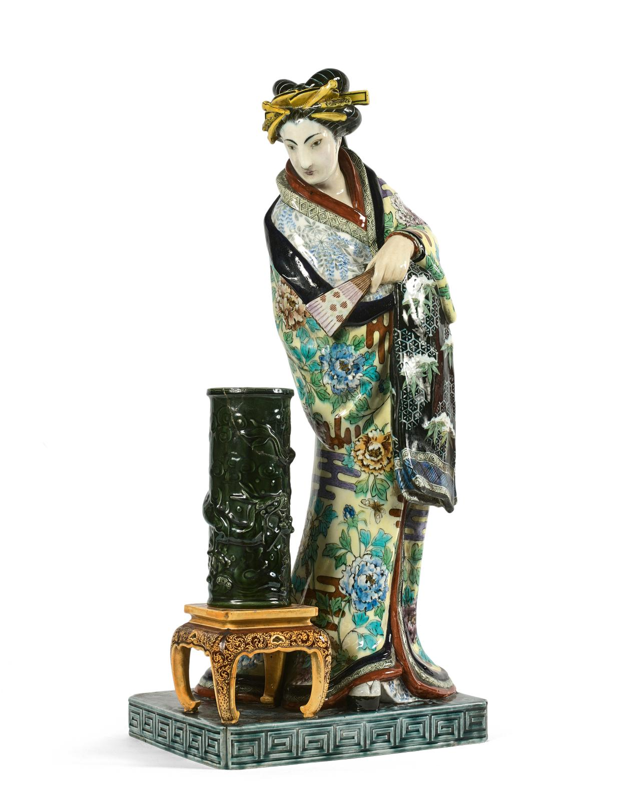 "Théodore Deck (earthenware maker) and Émile Reiber (designer), ""La Japonaise"", earthenware group with polychrome glaze.Drouot Estimations auction hous"