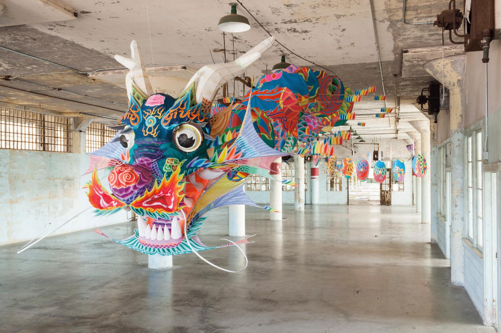 "Ai Weiwei (b. 1957), ""With Wind"", 2014, bamboo and silk, around   240 x 5000 cm. New Industries Building in Alcatraz, California."