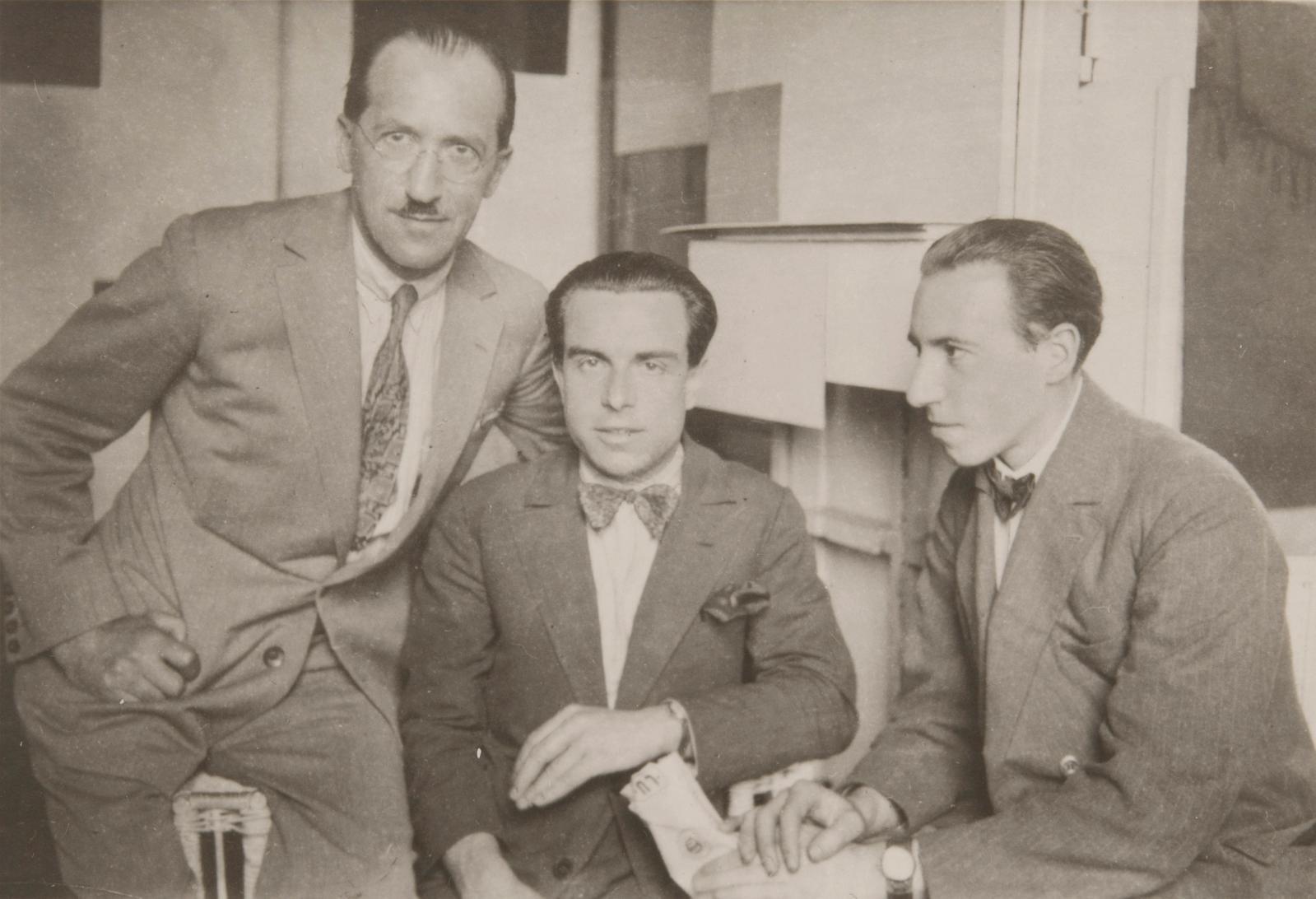"André Kertész (1894-1985), ""In Piet Mondrian's studio – Piet Mondrian, Enrico Prampolini and Michel Seuphor"", 1926, silver gelatin print on postcard,"