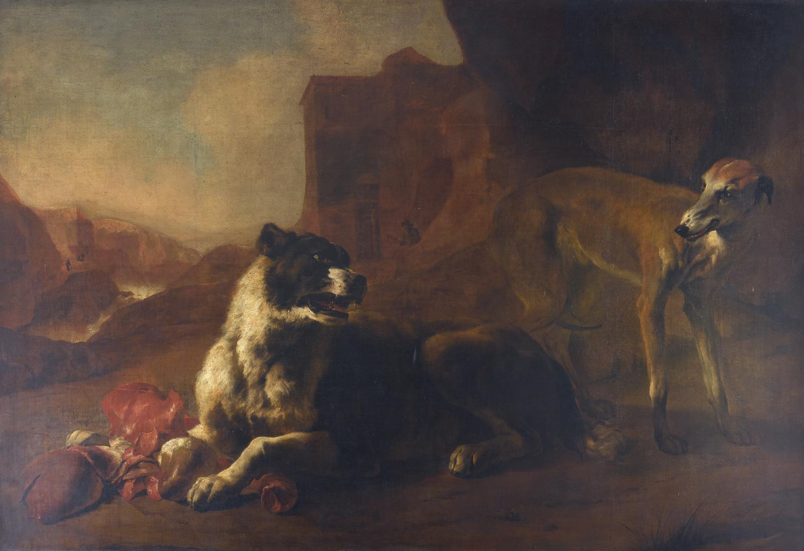"""Jan Baptist Weenix (1621-c. 1660), """"La Raison du plus fort (Deux chiens se disputant des entrailles)"""", 1649, oil on canvas, 136 x 205.5 cm.Estimate: €"""