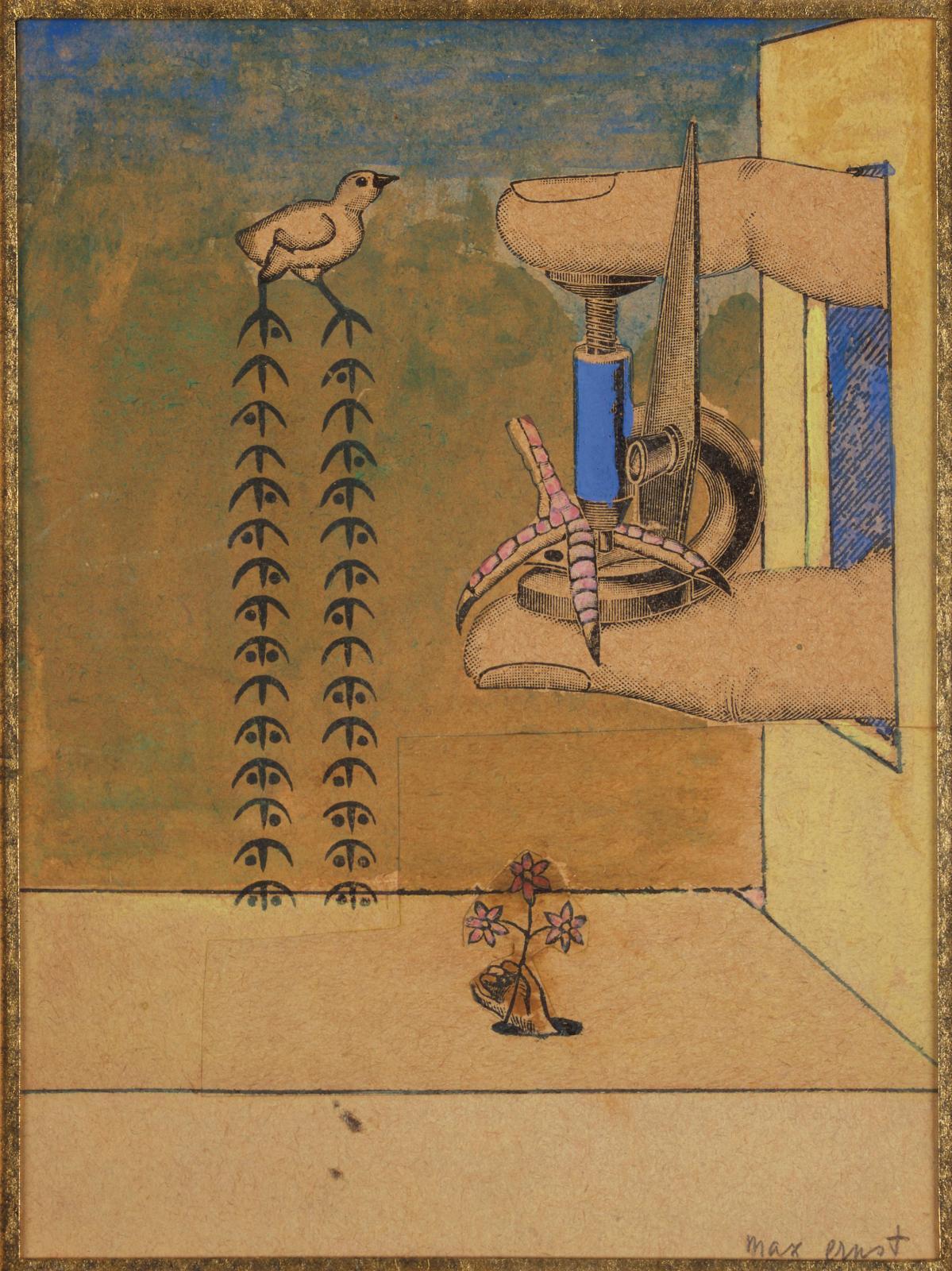 Max Ernst (1891-1948), L'Invention ou L'oiseau de l'infini, 1921, collage et gouache, 10,5x7,8cm (détail). Estimation: 80000/100000€
