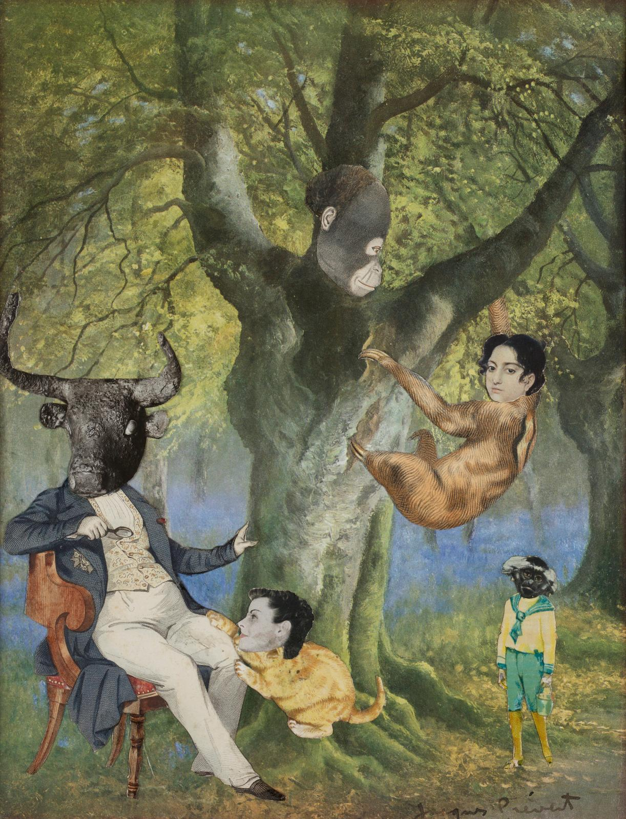 Jacques Prévert (1900-1977), Paradis terrestre, collage, 32,2x24,5cm. Estimation: 7000/8000€