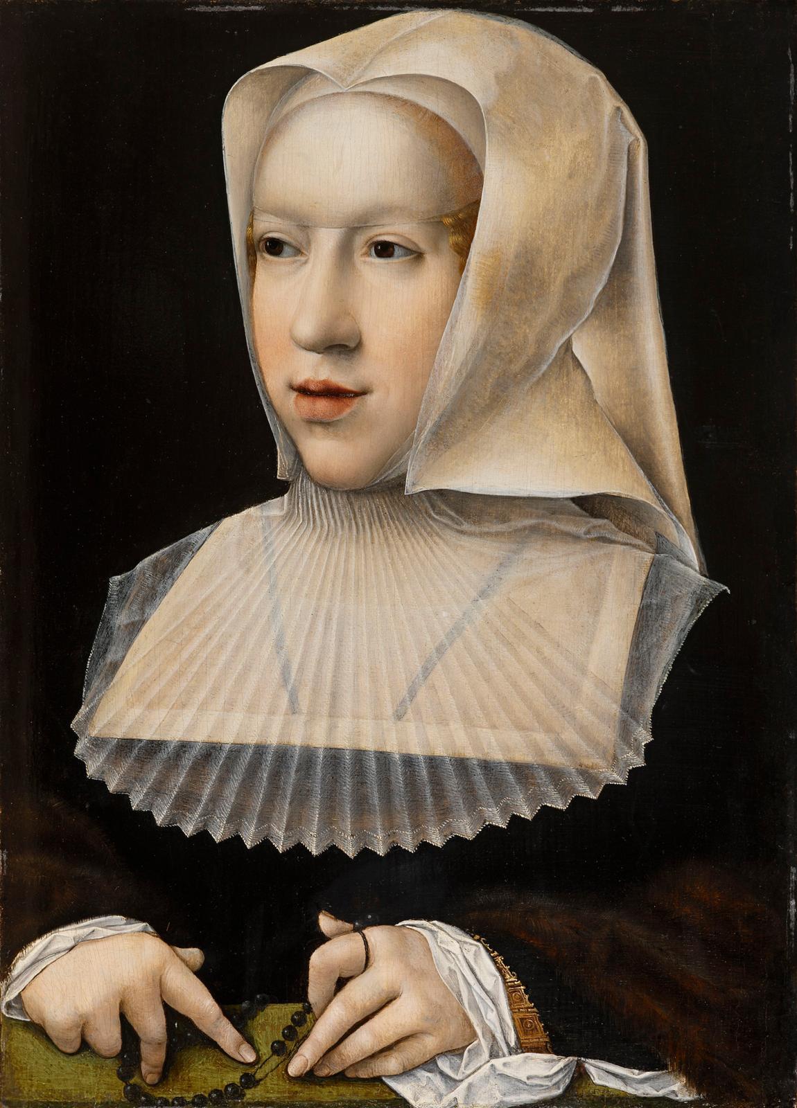 Bernard VanOrley (1488-1541), Portrait de Marguerite d'Autriche, après 1518, huile sur bois, Bourg-en-Bresse, musée du Monastère royal de Brou.