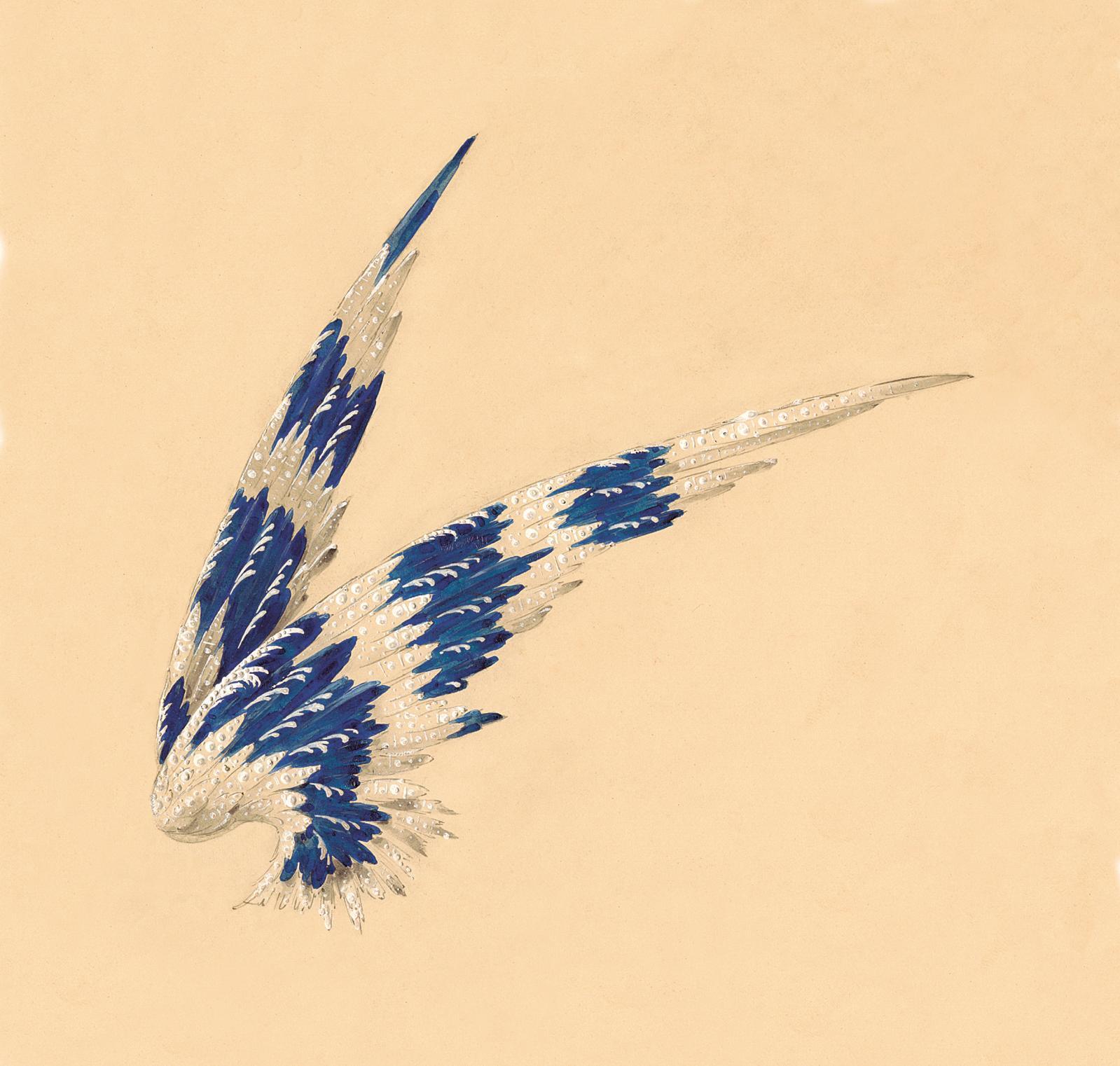 Gouache préparatoire pour les «ailes» de Gertrude Vanderbilt, 1910. Collection Chaumet, Paris