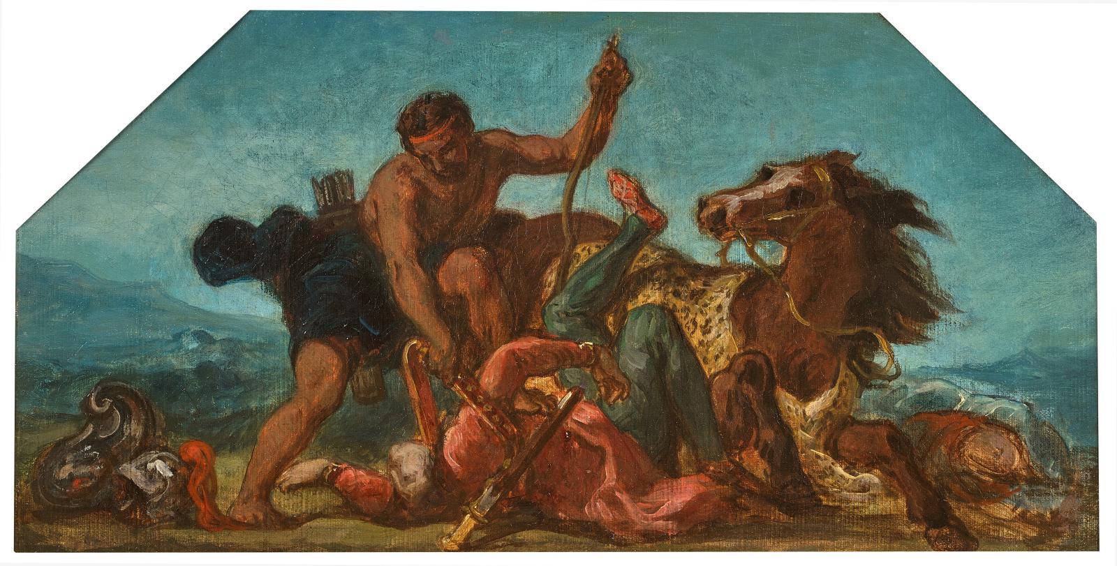 """Ferdinand-Victor-Eugène Delacroix (1798-1863), """"Hercule Seizing Hippolyte's Belt"""", sketch, oil on canvas, 24.5 x 47.5 cm. Galerie de Bayser, Paris."""