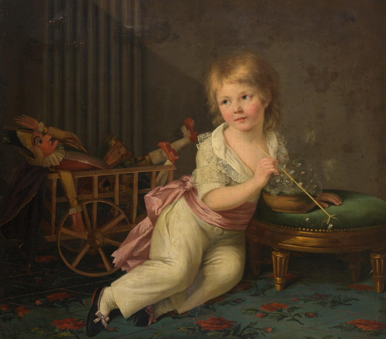 Portrait de petit garçon avec une charrette de jeux, jouant à faire des bulles, huile sur toile rentoilée (détail). Estimation : 3000 / 5000€