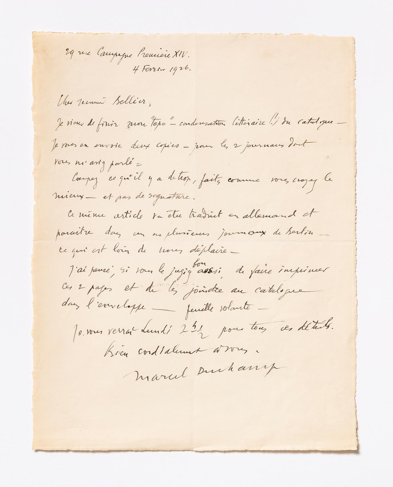 Lettre de Marcel Duchamp au commissaire-priseur Alphonse Bellier le 4février 1926, concernantla vente de la collection de tableaux de Francis Picabi