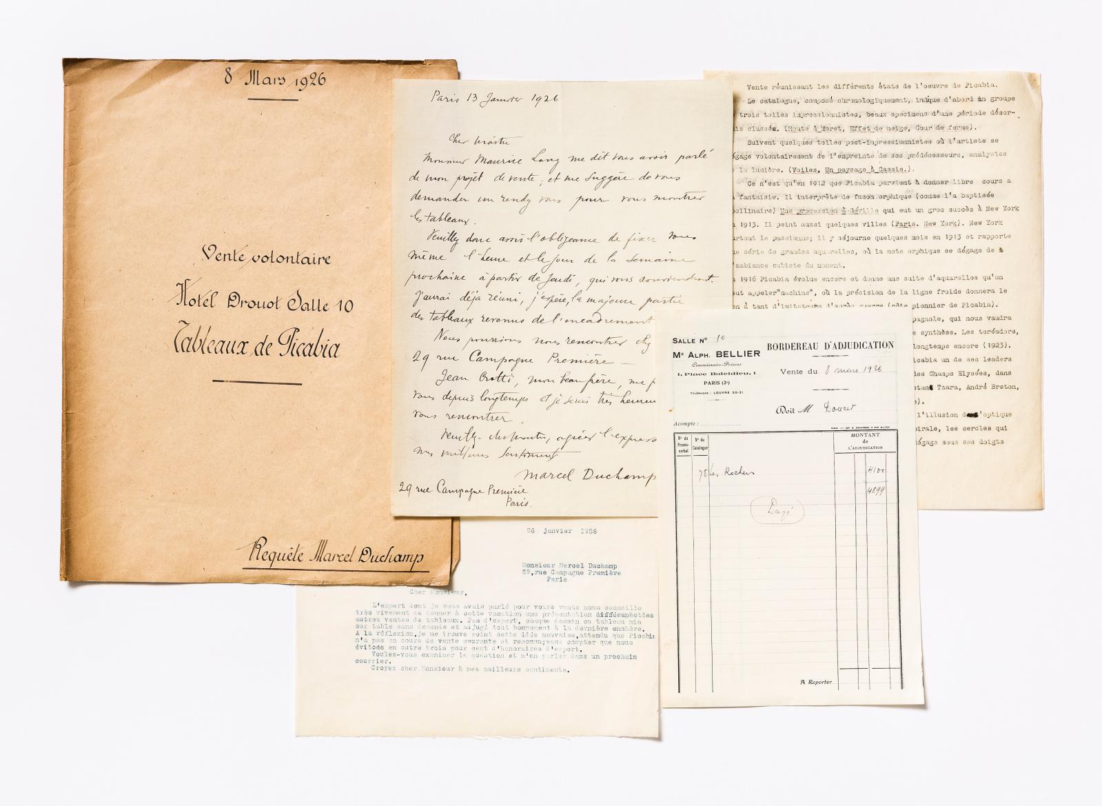 Dossier de la vente de la collection de tableaux de Francis Picabia appartenant à Marcel Duchamp, faite à Drouot le 8mars 1926 par le commissaire-pri