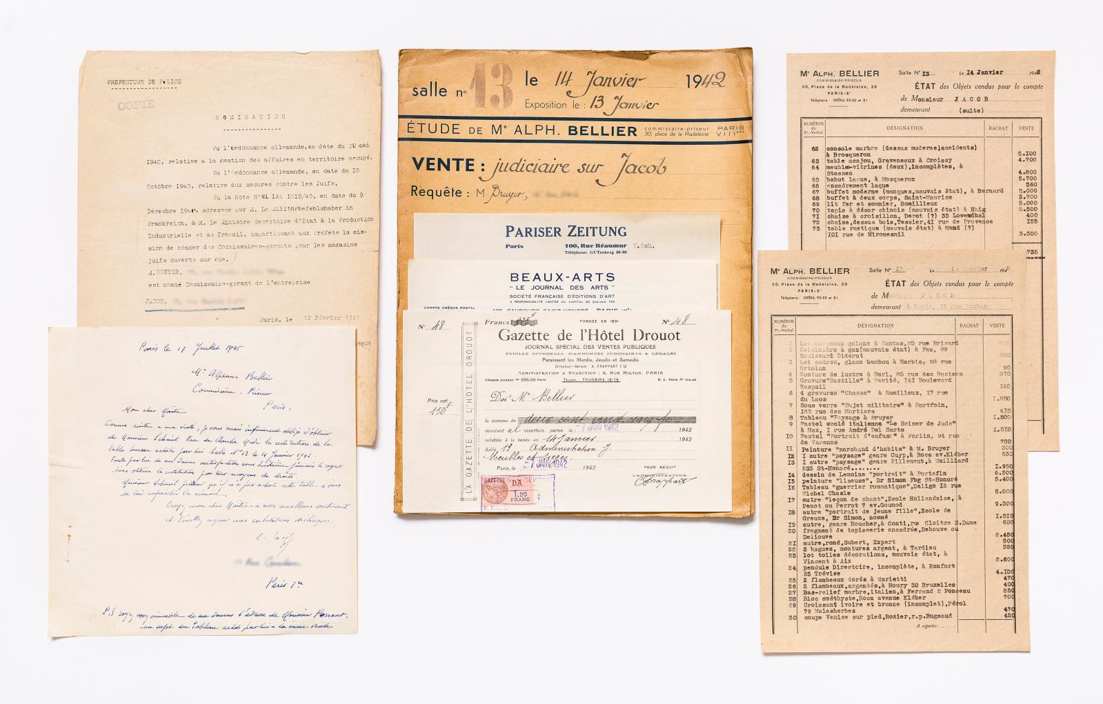 Dossier de la vente judiciaire Jacob, faite à Drouot le 14janvier 1942 par le commissaire-priseur Alphonse Bellier. Paris, Bibliothèque de l'Institut