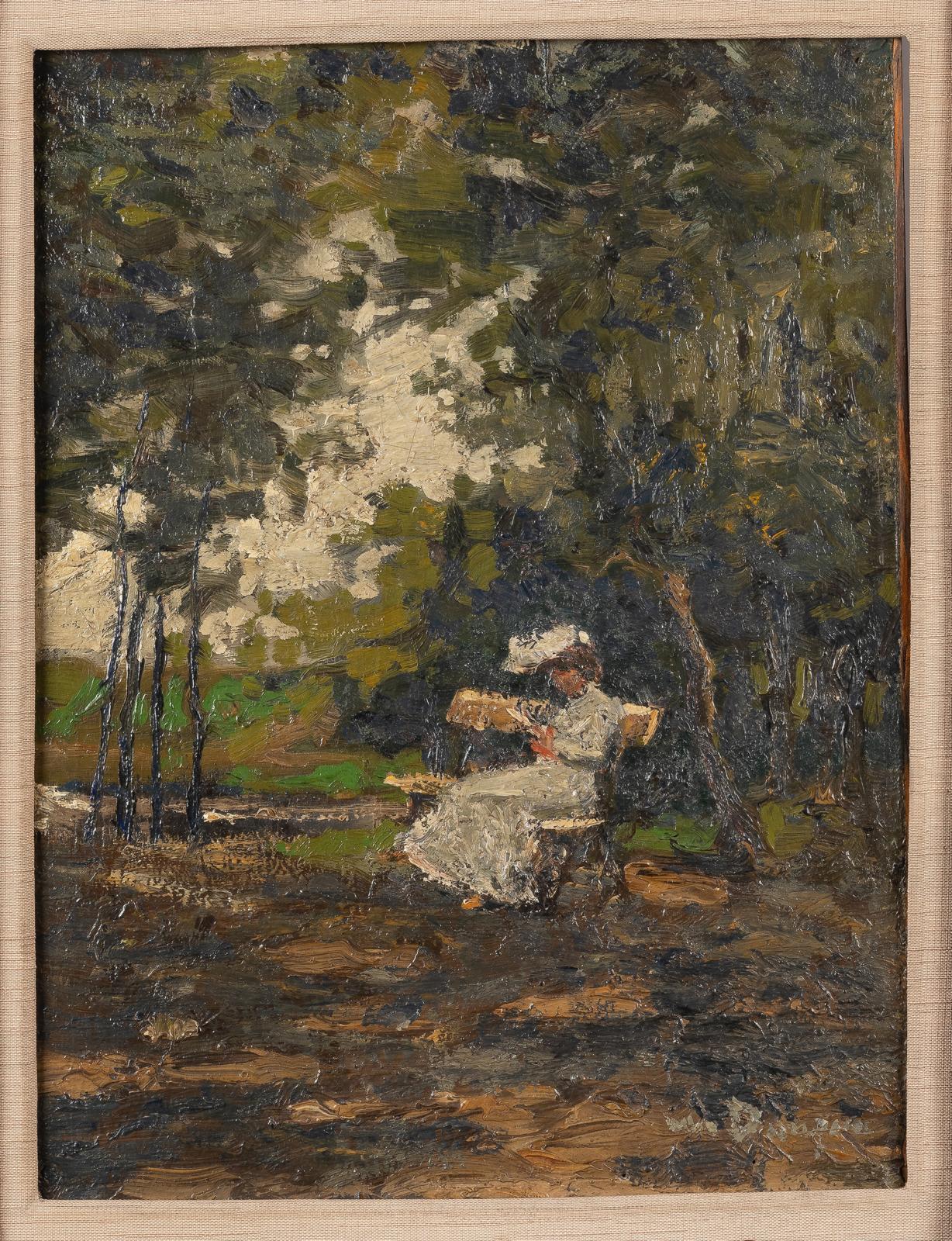 Kees Van Dongen (1879-1968), La Lecture dans le parc, huile sur carton marouflée sur panneau parqueté, 31,5x24cm. Estimation: 20000/30000€