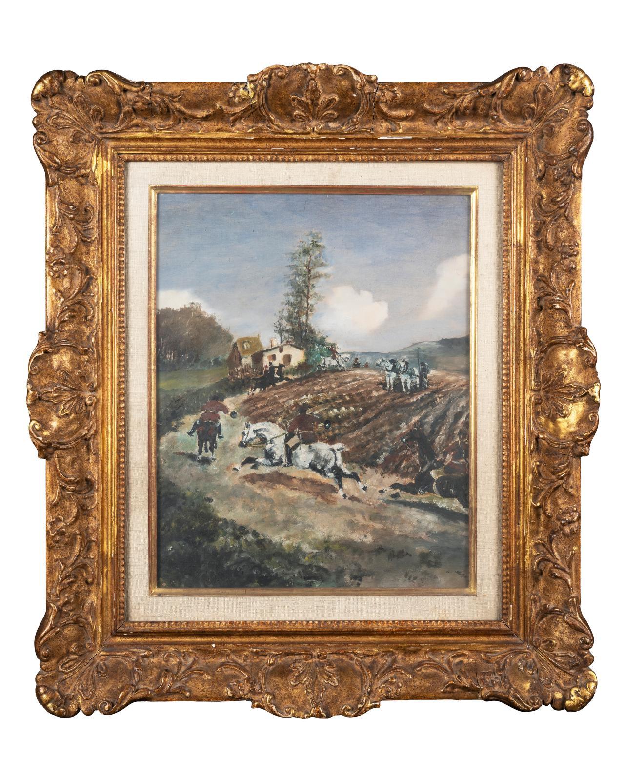 Henri de Toulouse-Lautrec (1864-1901), Chasse à courre, huile sur toile marouflée sur carton, vers 1881, 41,5x32cm. Estimation: 40000/60000€