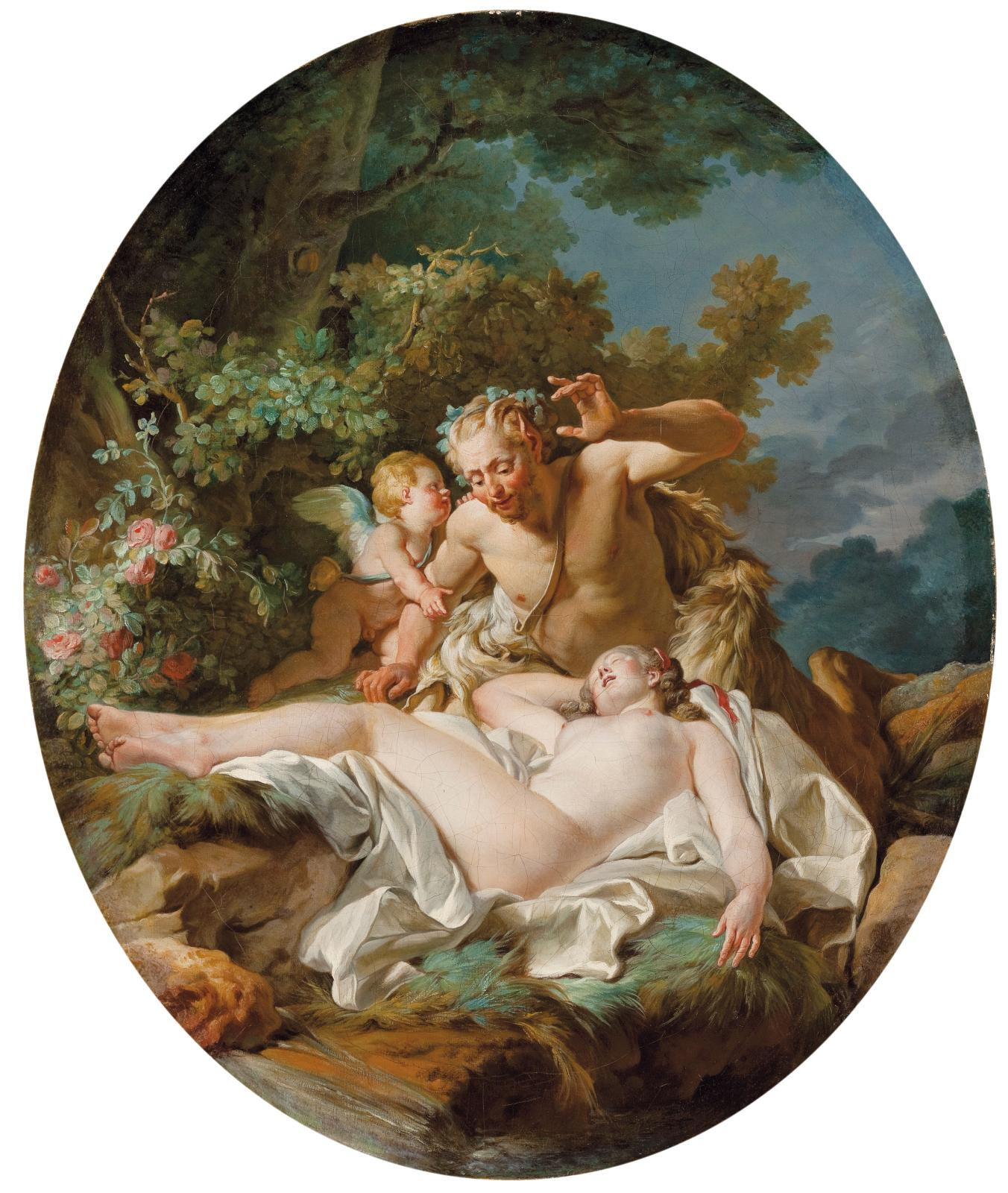 Satyre surprenant une nymphe ou Jupiter et Antiope, vers 1767-1768, huile sur toile, 66,6x55,2cm. Los Angeles, The Lynda and Stewart Resnick Collec