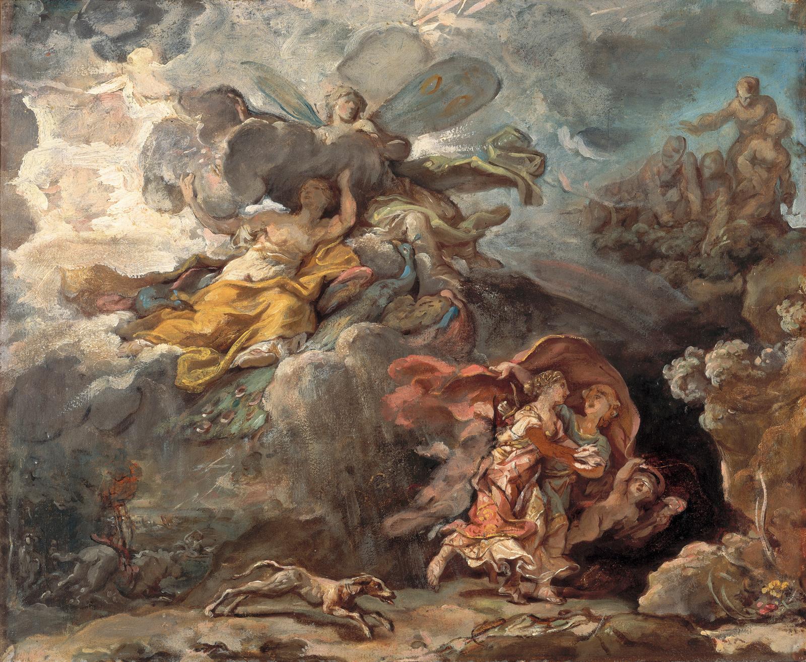 La Tempête commandée par Junon et Didon et Énée se réfugiant dans la grotte, 1773-1774, huile sur papier marouflé sur toile, 46x52,7 cm, détail. Los