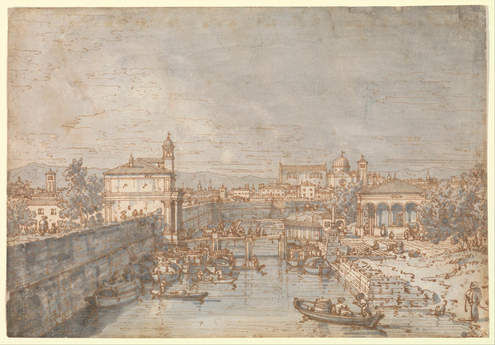Giovanni Antonio Canal, dit Canaletto (1697-1768), Vue du canal de la Brenta et de la Porta Portello à Padoue, encre brune, lavis gris, 18,5 x 26,5 cm