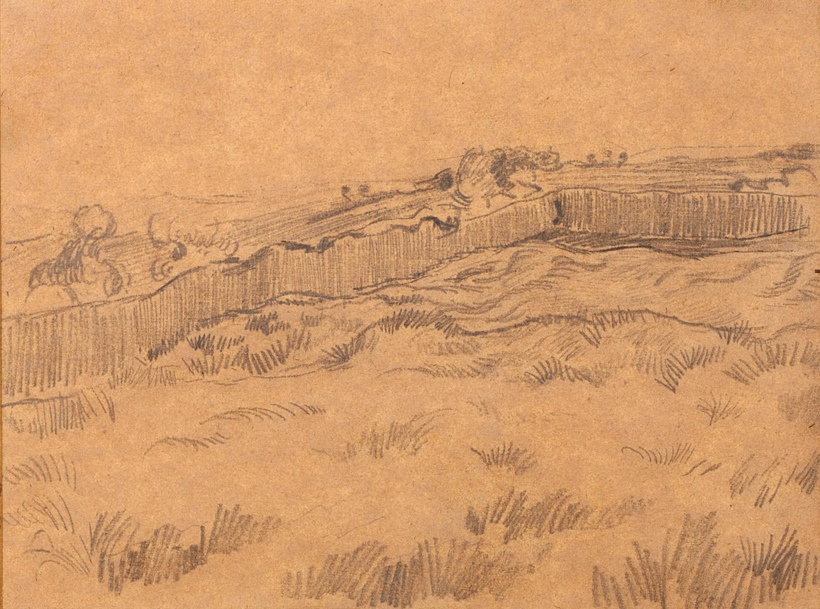 Vincent Van Gogh (1853-1890), Champ de blé fermé par un mur - coin de la clôture derrière l'hospice Saint-Paul, 1890, crayon sur papier marouflé sur p