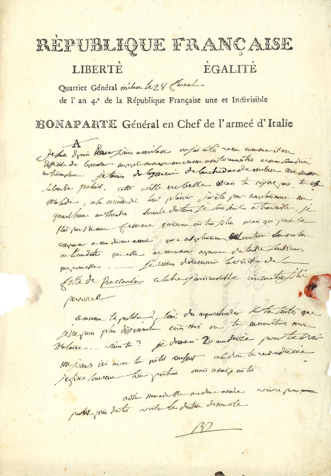 Napoléon Ier (1769-1821) Empereur. L.A.S. «BP», Quartier GénéralMilan 28 floréal IV (17 mai 1796), à sa femme Joséphine, «La Citoyenne Bonaparte Rue