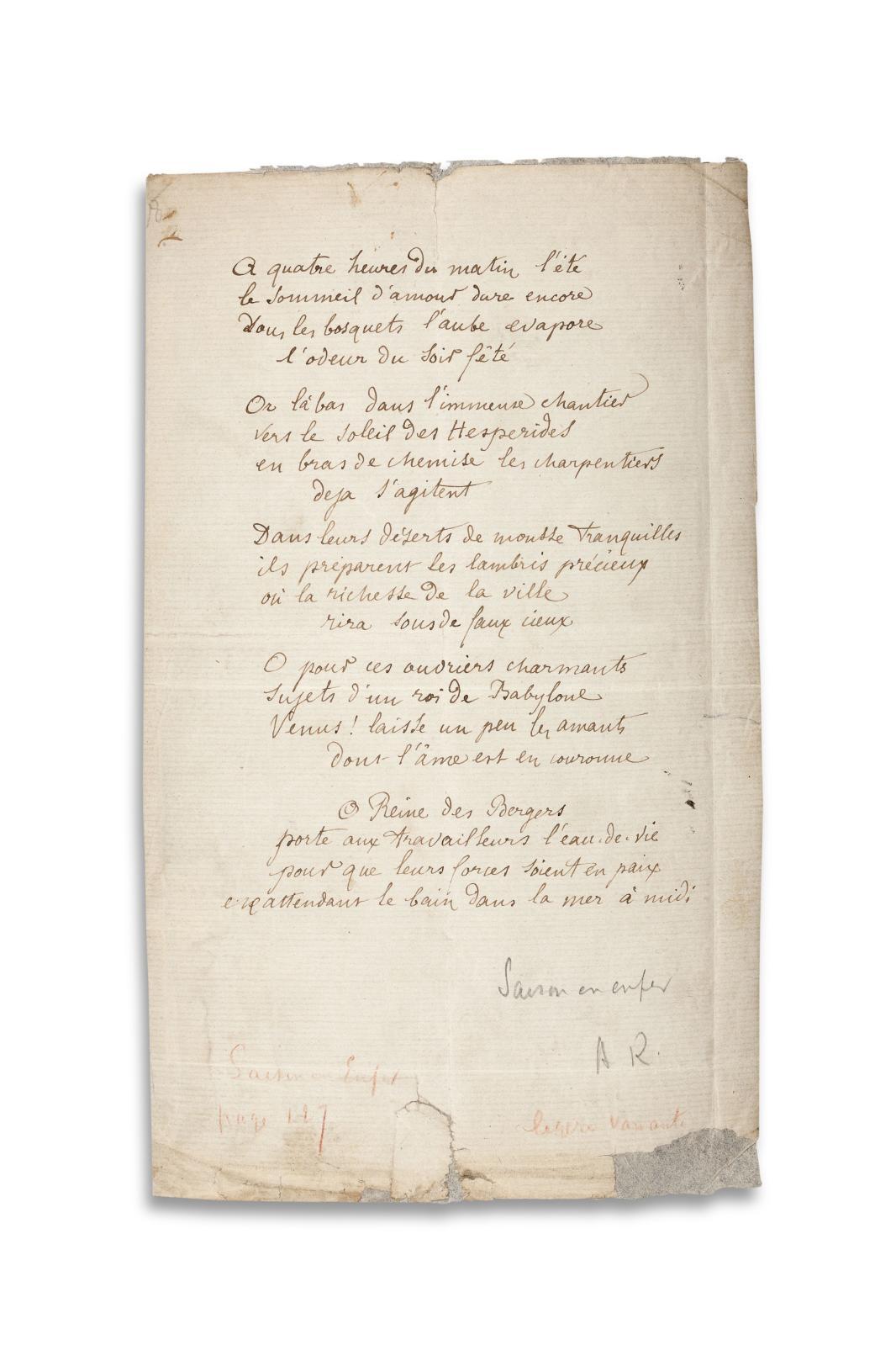 Arthur Rimbaud (1854-1891), Bonne pensée du matin, poème autographe, été1872, une page in-8° à l'encre. Vente n°17, mercredi 3 avril Estimation: 15
