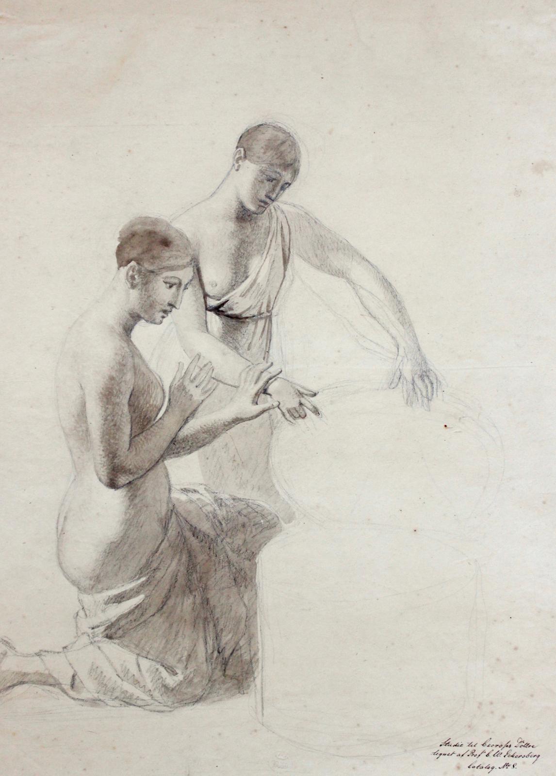 Christoffer Wilhelm Eckersberg (1783-1853), Étude de femmes, pierre noire et lavis brun, 55x40,5cm (détail). Galerie de Bayser