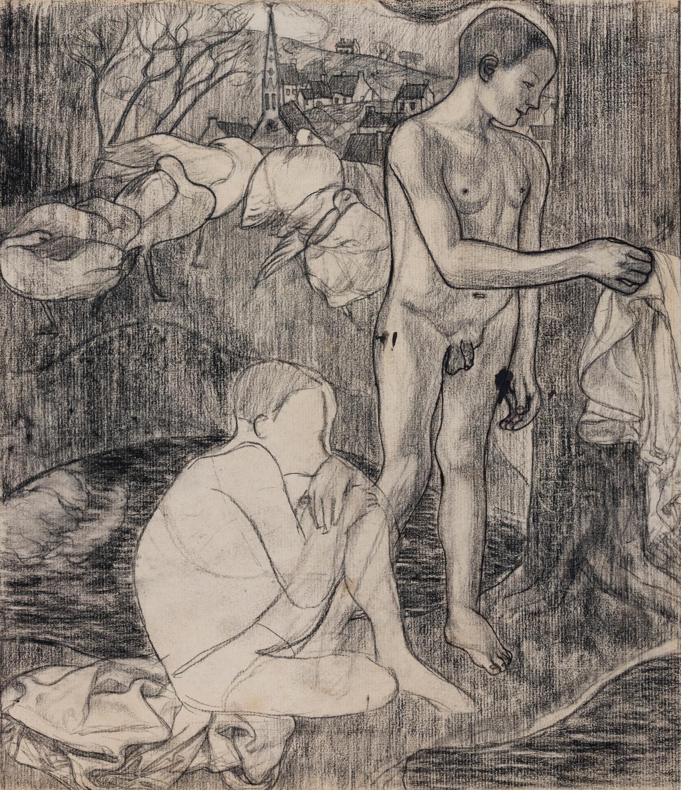 Armand Seguin (1869-1903), Deux baigneurs, vers 1895, dessin préparatoire à la zincographie, fusain, plume et encre de Chine sur papier, 27,7x24,6c