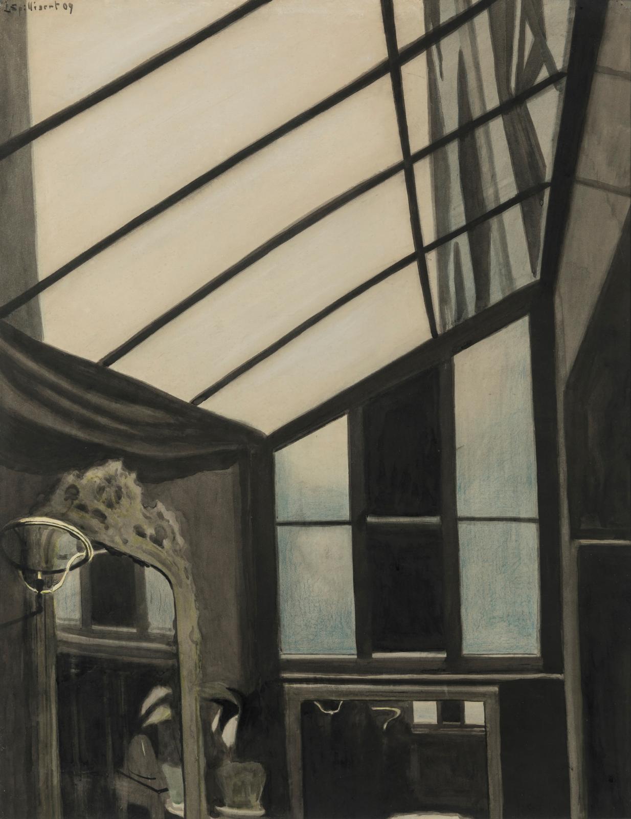 Léon Spilliaert (1881-1946), La Verrière, 1909, encre de Chine, pinceau et crayons de couleur sur papier, 64x50cm (détail). Lancz Gallery