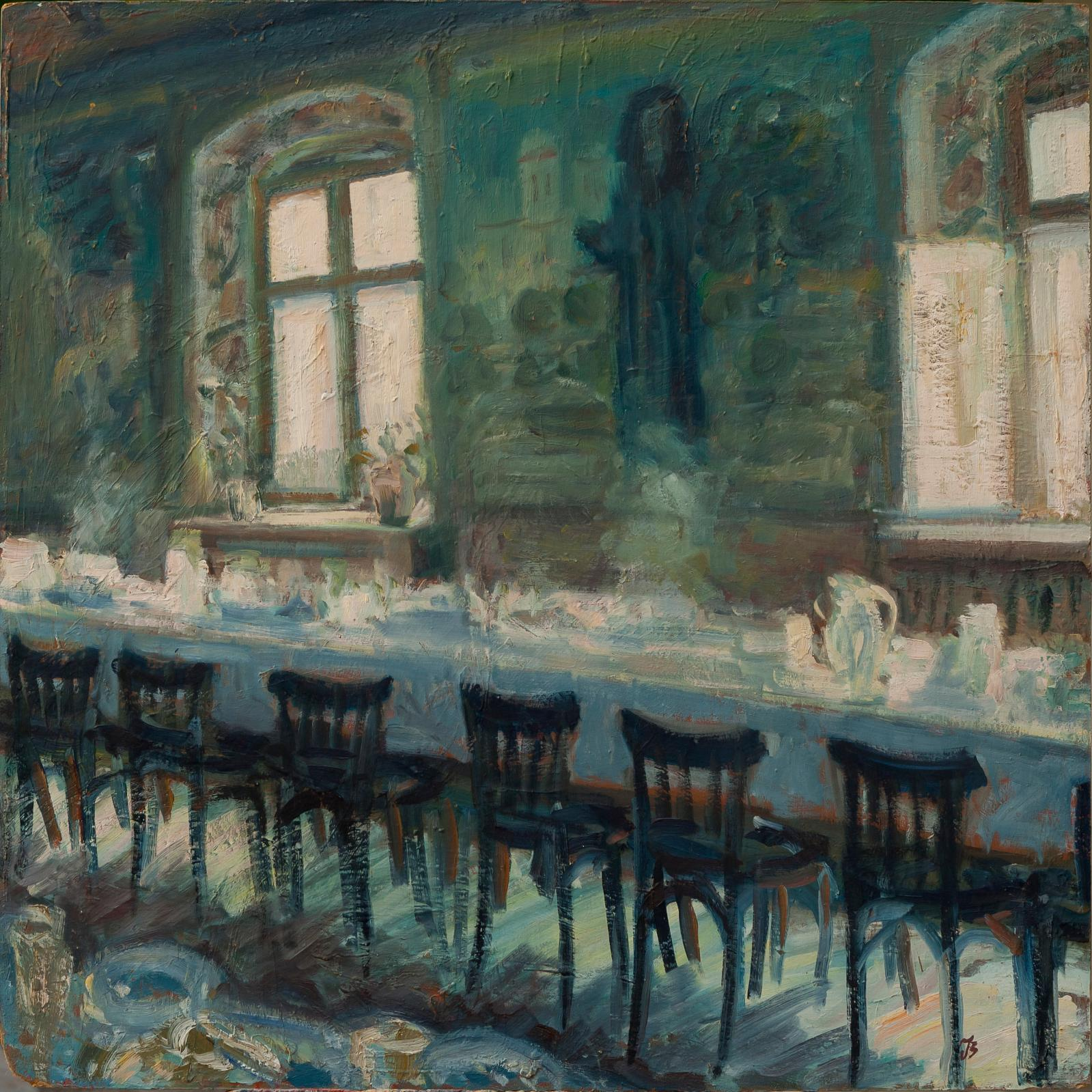 Ioana Batranu, Banquet, 2003, huile sur bois (détail). Courtesy Ovidiu Sandor Collection