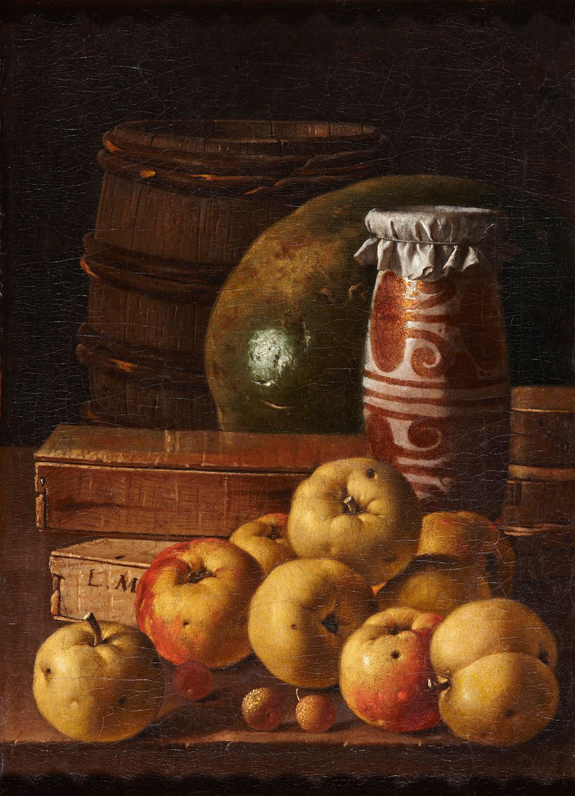 "Luis Egidio Meléndez (1716-1780), ""Still Life with Apples, Arbutus, Berries, a Watermelon, Box of Sweetmeats, Honey-Pot and Cask"", oil on canvas, 48 x"