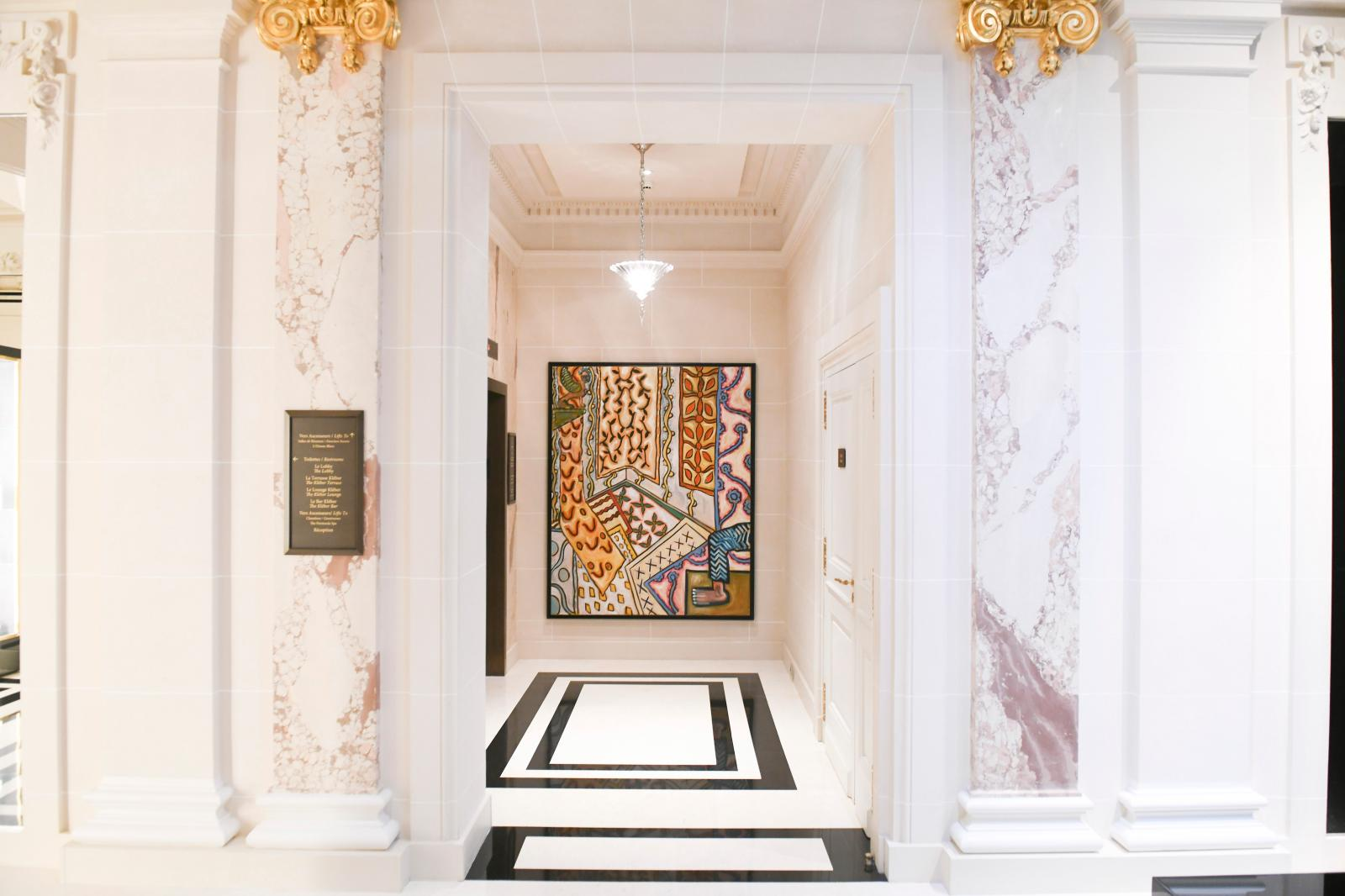 A painting by Marco del Re hung in a corridor of the Peninsula by gallery owner Isabelle Maeght.